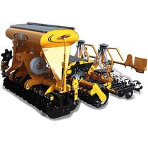 Pneumatic seed drill / tractor-mounted / folding / with harrow