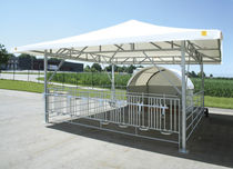 Calf igloo / collective / stainless steel / with yard