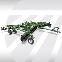 Trailed field cultivator / with gauge wheels / with disk harrow / folding