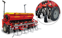 Mechanical seed drill / with harrow / compact