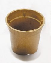Rice paper pot / round / brown / biodegradable