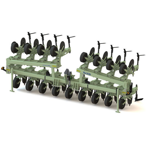 mounted row crop cultivator / depth control / folding