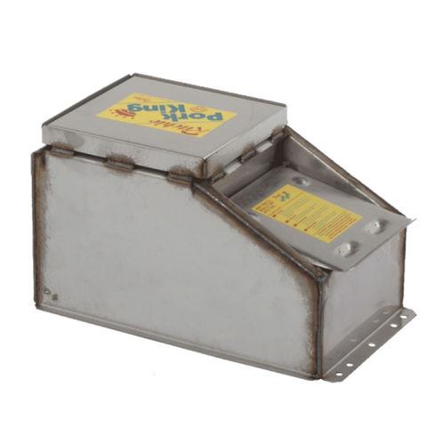 swine waterer / trough / stainless steel / floor-mounted