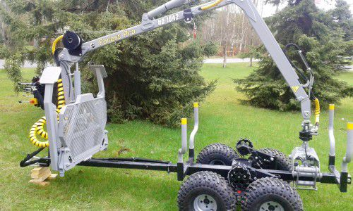 2-axle trailer / forestry / self-loading / with crane