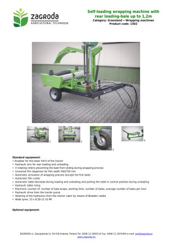 Self-loading wrapping machine with rear loading-bale up to 1,2m