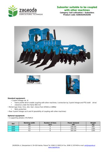 Subsoiler suitable to be coupled with other machines