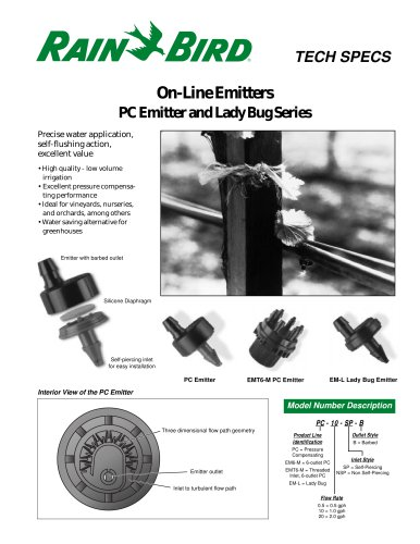 On-Line Emitters PC Emitter and Lady Bug Series