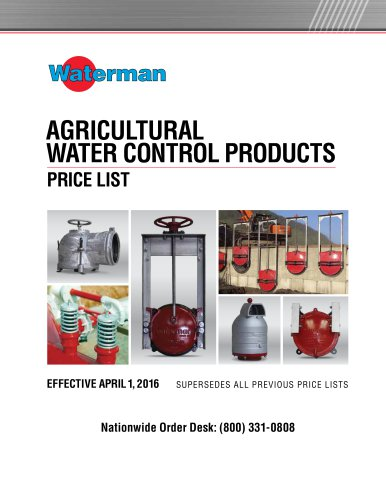 AGRICULTURAL WATER CONTROL PRODUCTS PRICE LIST
