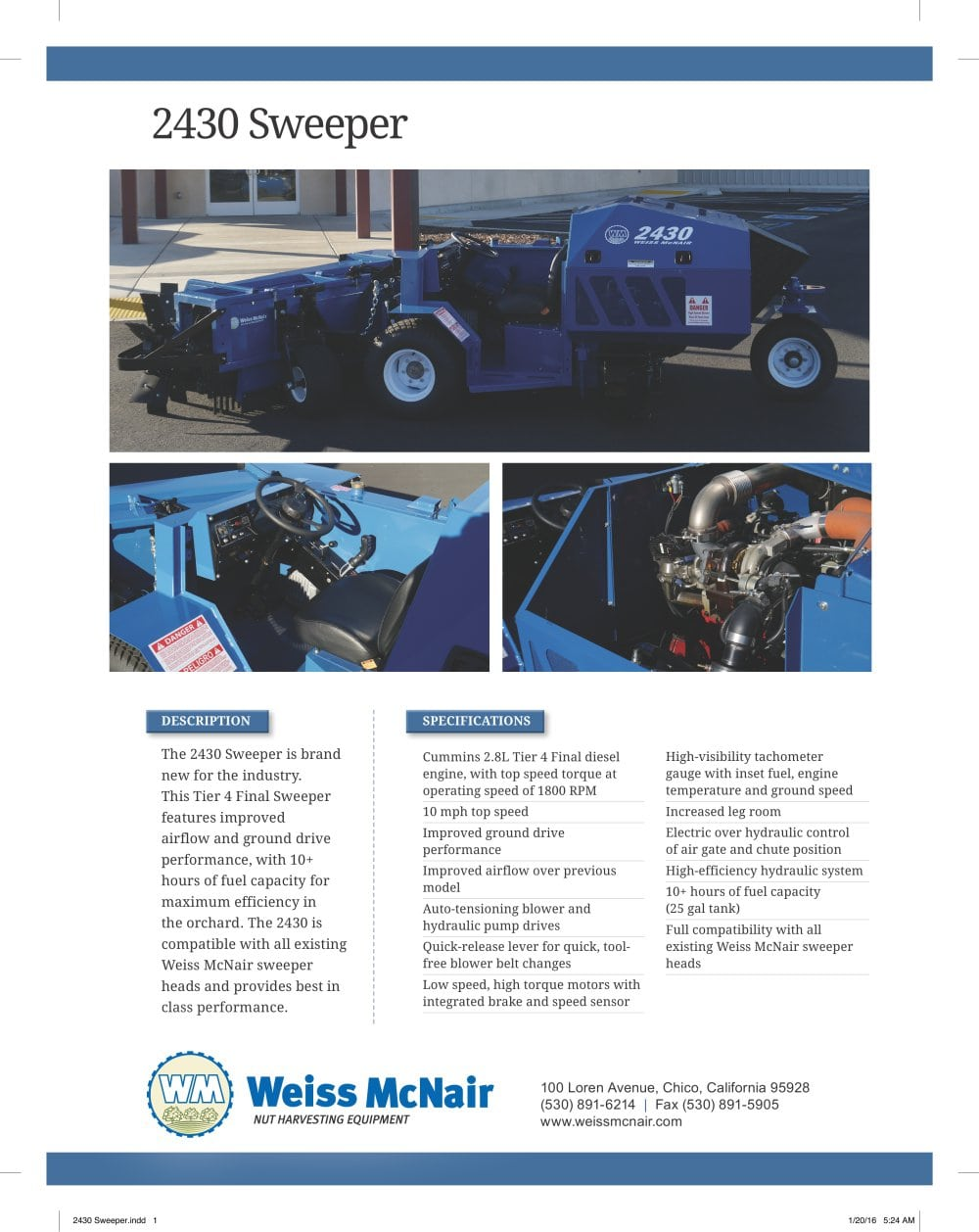 2430 Sweeper Specifications - 1 / 1 Pages