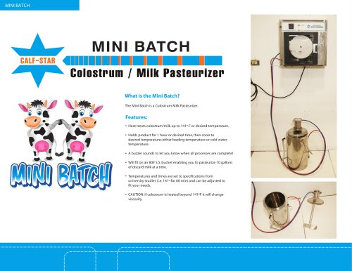Mini Batch Colostrum Pasteurizer