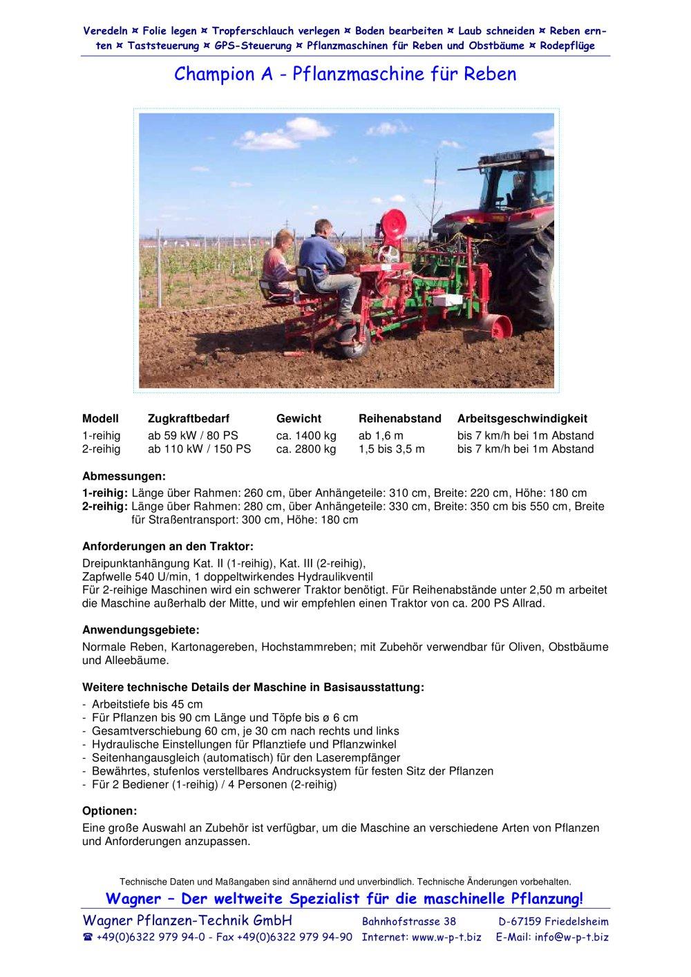 Champion A - Wagner Pflanzen-Technik GmbH - PDF Katalog | technische ...