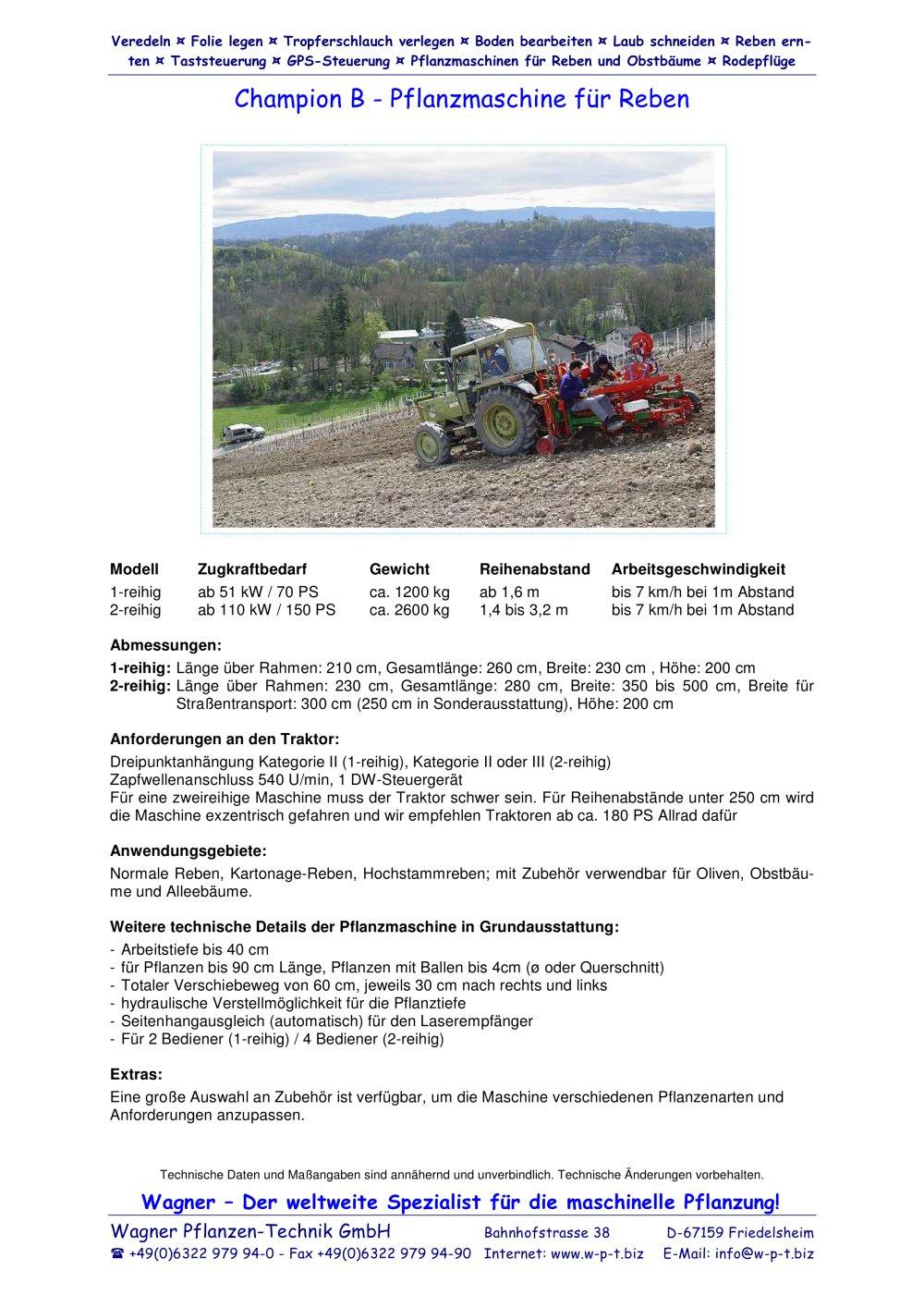 Champion B - Wagner Pflanzen-Technik GmbH - PDF Katalog   technische ...