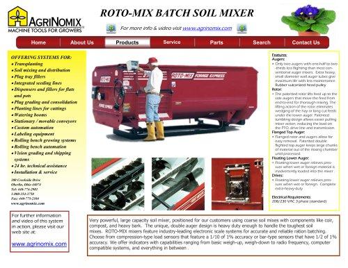 ROTO-MIX Batch Soil Mixer - AgriNomix LLC - PDF Catalogs