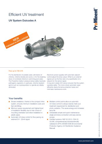 UV System Dulcodes A - ProMinent GmbH - PDF Catalogs