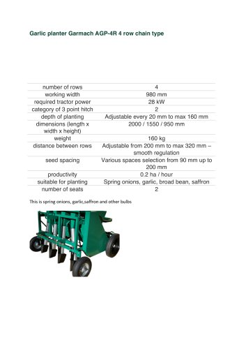 Garlic planter Garmach AGP-4R 4 row chain type