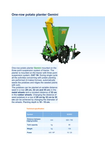 One-row potato planter Gemini