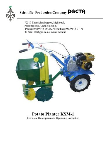 Potato planter KSM-1 for cultivator engine tiller