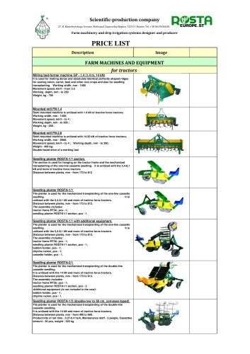 Rosta catalogue seeders and planters