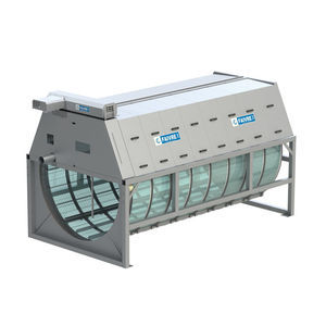 aquaculture filter / drum / with water purge / steel