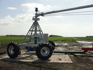 center irrigation pivot / towable / wheel-mounted / with skids