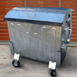 galvanized steel waste container / with lid
