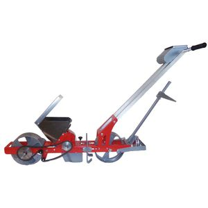 1-row manual seeder / walk-behind / with disc harrow