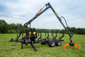 trailer-mounted forestry crane