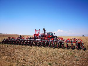 mechanical seed drill / 6-row / trailed / double-disc
