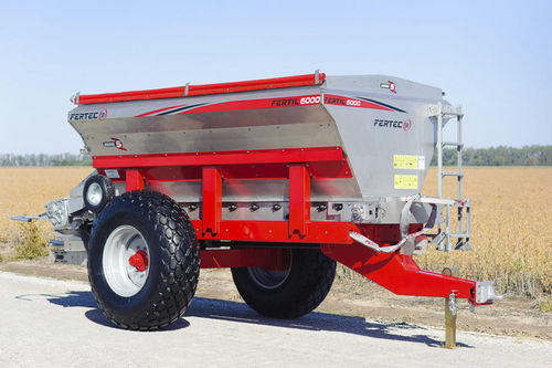 trailed fertilizer spreader / solid / with floater tires
