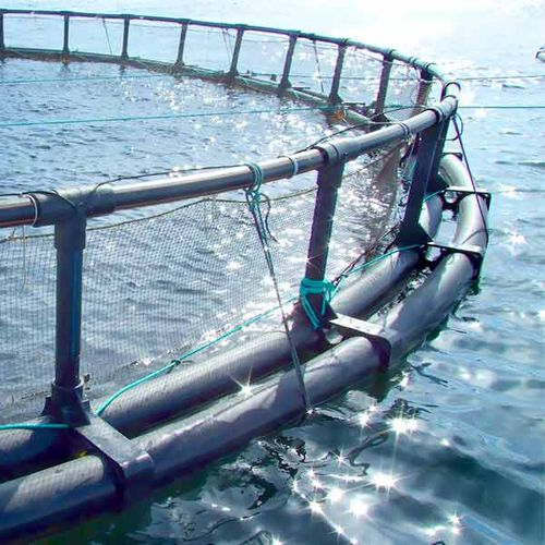 floating fish cage / plastic / round