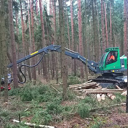 tracked forestry harvester
