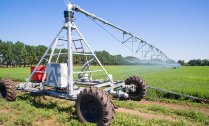 hose-fed irrigation boom / wheeled / 1-wing / 2-wing