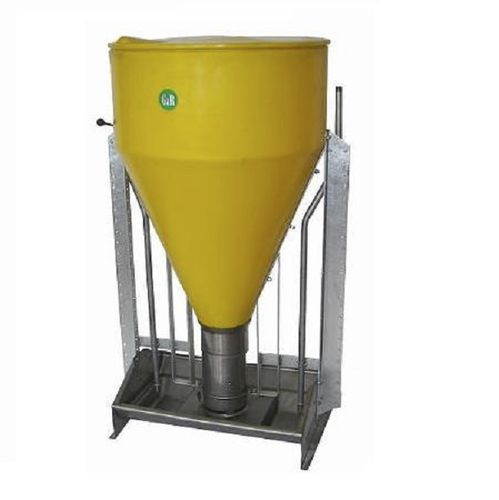 pig feeder / polyethylene / stainless steel / single access
