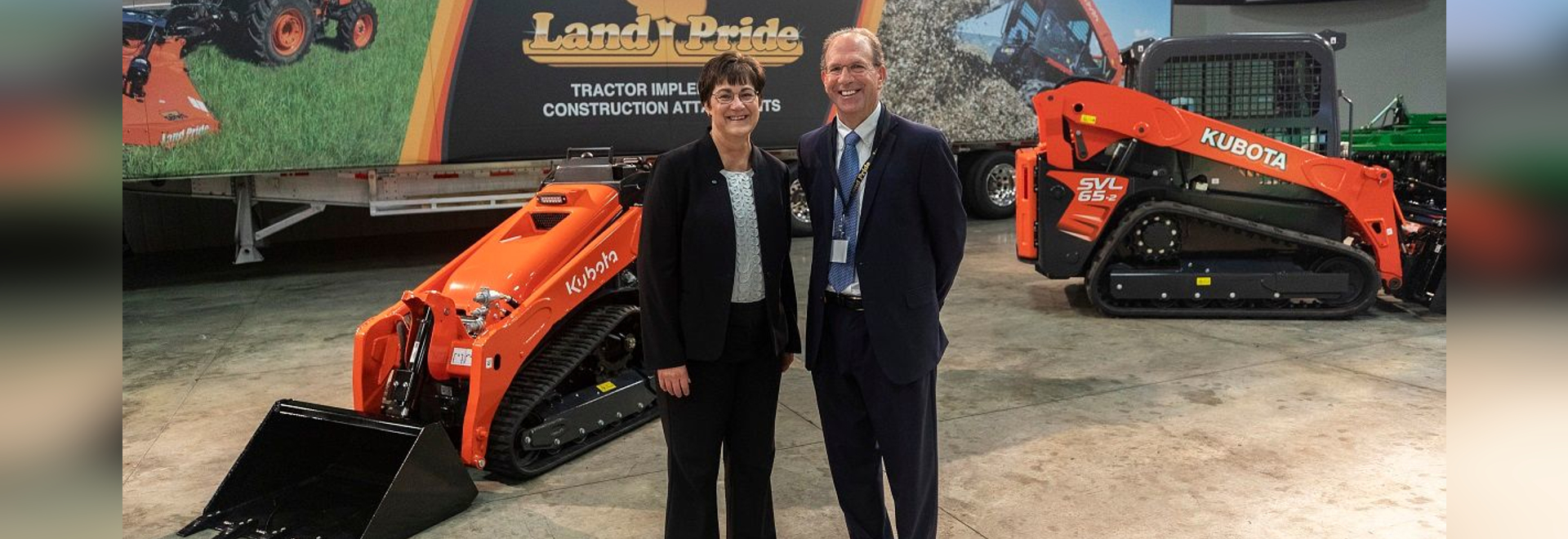 ANNOUNCEMENT: Linda Salem (left), president and CEO of Great Plains Mfg Inc., and John Quiley, president of Land Pride, participated in the announcement of a $53 million expansion project for Great...