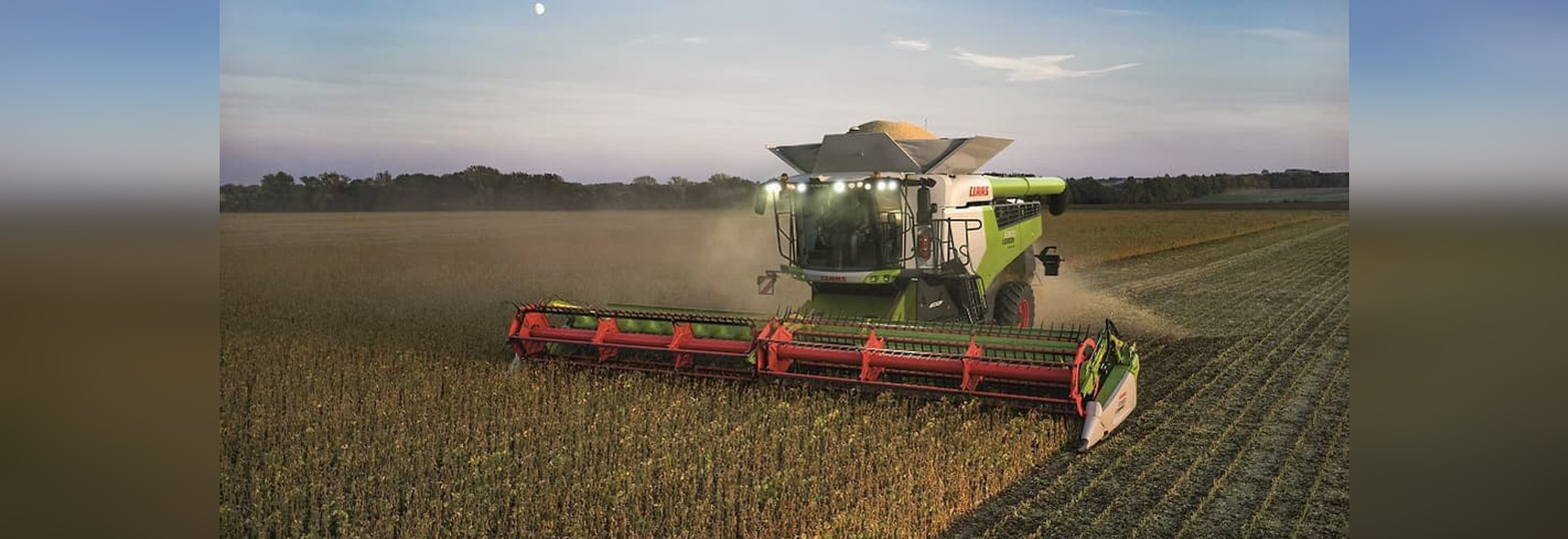 A CLAAS LEXION 8900 working in the fields