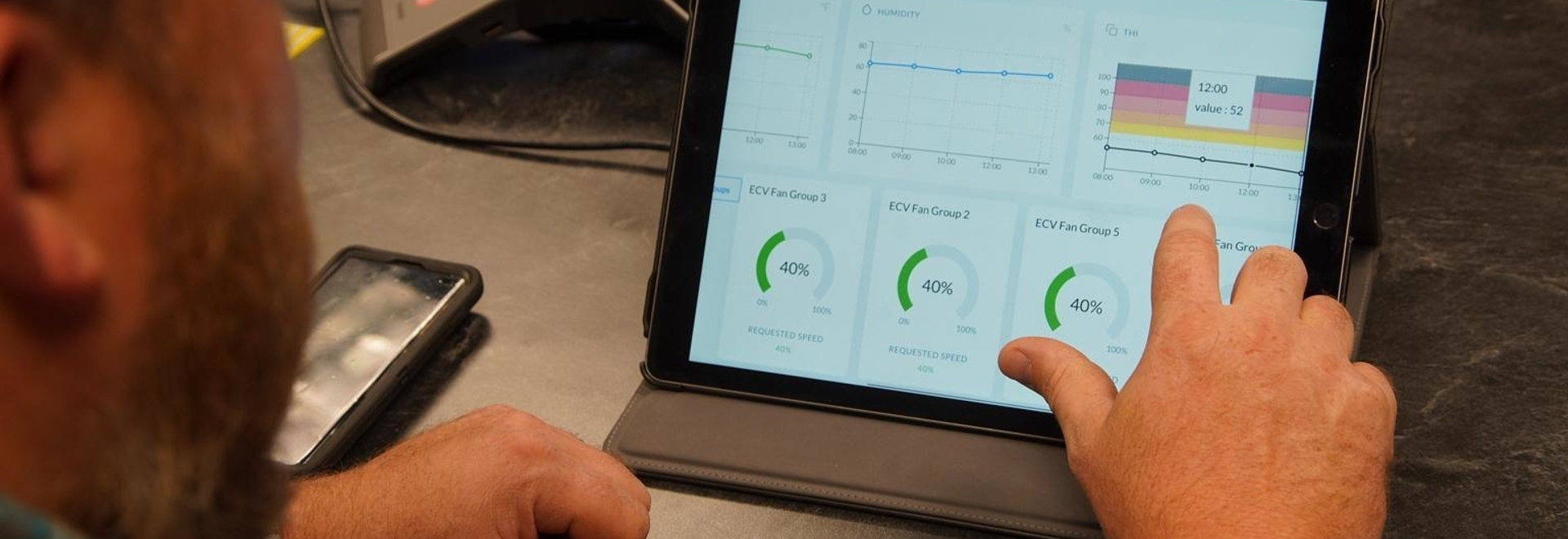 REMOTE CONTROL: The VES DairyBOS system is controlled using an online interface that can be accessed via tablet or smartphone