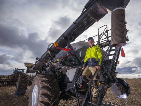 REAPING THE BENEFITS: Farmer Sam Correll from Arthurton in South Australia with his Flexi-Coil 5560 aircart. The aircart allows section control across the bar, opening up options for variable rate ...