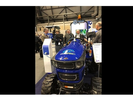 All-electric tractor with lithium-ion battery technology lit up LAMMA