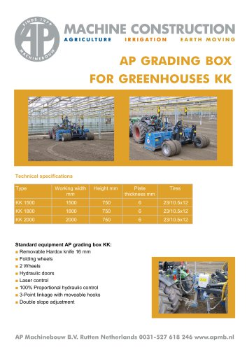 Grading boxes for green houses
