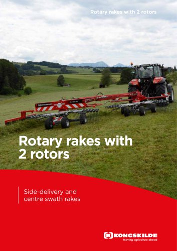 Rotary rakes with 2 rotors