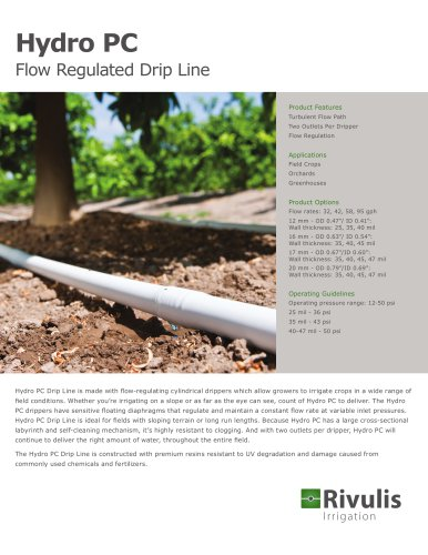 Hydro PC Flow Regulated Drip Line