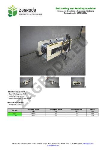 Belt raking and tedding machine