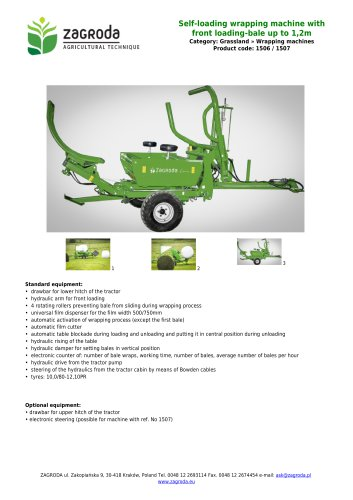 Self-loading wrapping machine with front loading-bale up to 1,2m