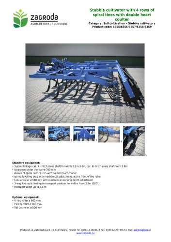 Stubble cultivator with 4 rows of spiral tines with double heart coulter