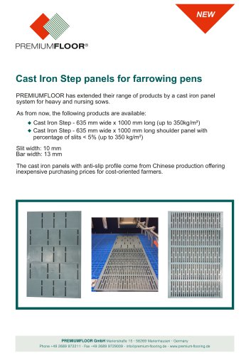 Cast Iron Step panels for farrowing pens