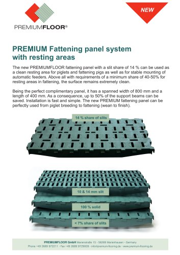 PREMIUM Fattening panel system with resting areas