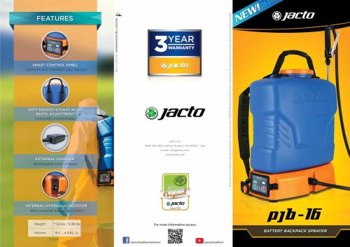 PJB-16 and PJB-20 - Battery Backpack Sprayer