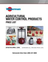 AGRICULTURAL WATER CONTROL PRODUCTS PRICE LIST - 1
