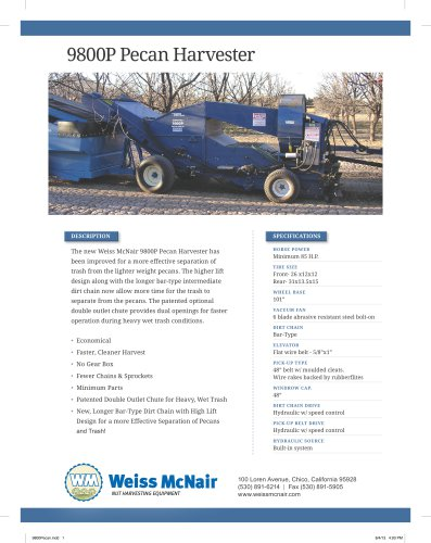 9800 Pecan Harvester Specifications - Weiss McNair LLC