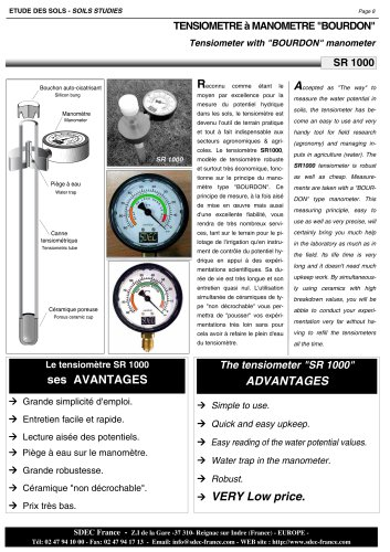 "Tensiometer with ""BOURDON"" manometer"